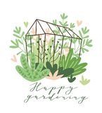 Cute vector seasonal greeting card - Growing flowers and plants in the greenhouse with text `Happy gardening`. Cute vector seasonal greeting card - Growing royalty free illustration