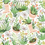 Cute vector seasonal seamless pattern. Growing flowers and plants in the greenhouse. Spring endless garden background. Happy gardening stock illustration