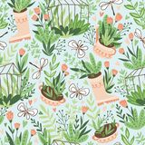 Cute vector seasonal seamless pattern. Growing flowers and plants in the greenhouse. Spring endless garden background. Happy gardening vector illustration
