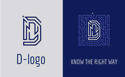 Print D letter maze. Creative logo for corporate identity of company: letter D. The logo symbolizes labyrinth, choice of right path, solutions. Suitable for Stock Photo