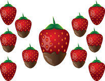 Print. Delicious chocolate-dipped red strawberry tasty dessert. Vector Stock Images