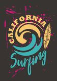 Print design shirt graphic. California surfing. Summer surf beach vintage. Typography textile art ocean. Retro fashion illustration sport royalty free illustration