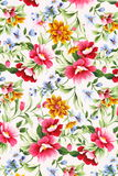 Print of different flowers. Royalty Free Stock Photography
