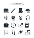 Print. E-learning icon set. Collection of education silhouette icons. 16 high quality monochrome signs of training on white background. Pack of symbols for Stock Images