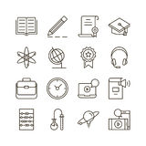 Print. E-learning icon set. Collection of education thin line icons. 16 high quality outline signs of training on white background. Pack of symbols for design Stock Image