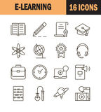 Print. E-learning icon set. Collection of education thin line icons. 16 high quality outline signs of training on white background. Pack of symbols for design Stock Photo