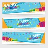 Print Editable Happy Birthday Banners. Geometric Landscape Banner Vector Design set. Royalty Free Stock Photo