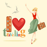 Print An elegant girl is hitchhiking. An elegant girl is hitchhiking. Set of illustration in retro style Stock Images