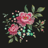 Print. Embroidery fashion floral pattern with pink roses. Vector traditional embroidered patch with flowers on black background for clothing design royalty free illustration