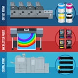 Print equipment. Printing equipment. Color printer. Cyan, magenta, yellow, black pant. Color Ink and cartridge. Copy and scan. Laser, ink, offset machine Royalty Free Stock Image