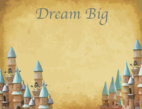 Print Fantasy wedding invitation cards with castle. – horizontal Royalty Free Stock Photo