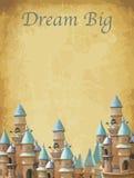 Print Fantasy wedding invitation cards with castle. Horizontal Royalty Free Stock Photo