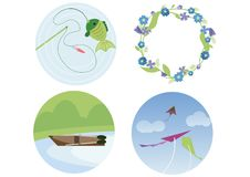 Print fishing wreath of flowers boat kite doodle color flat summer to do stock illustration