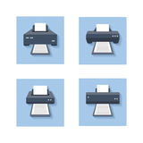 Print flat icons. Office paper printer, scanner and photocopier colored signs Royalty Free Stock Photography