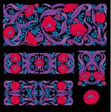 Print. Floral pattern in art nouveau style, vintage, old, retro style. Set of decorative elements for design. Colored vector illustration. In red, pink, blue stock illustration