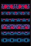 Print. Floral pattern in art nouveau style, vintage, old, retro style. Set of decorative elements for design. Colored vector illustration. In red, pink, blue royalty free illustration