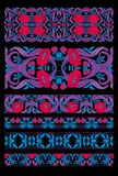 Print. Floral pattern in art nouveau style, vintage, old, retro style. Set of decorative elements for design. Colored vector illustration. In red, pink, blue vector illustration