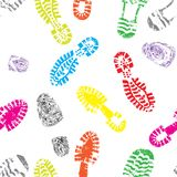 Print of foot shoe of child. Seamless print of foot shoe of child background, collection of various highly detailed boot tracks. Hiking, elegant, sporty, formal Stock Photos