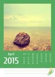 Print2015 fotografii kalendarz fartuch obraz stock