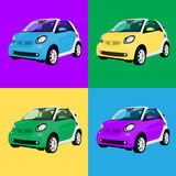 Print four small city  car Royalty Free Stock Photo