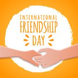 Friendship day concept. hands holding each other stock vector illustration. greeting card design for happy friendship day vector illustration