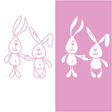 Print 2 fun pink hares. It can be used for baby clothes or suit to sleep Stock Photo