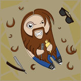 Print. Funny hairy hipster bearded dude with comb and hair gel. Vector comic illustration Stock Photos