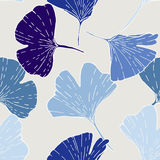 Print ginkgo. Seamless pattern with ginkgo leaves. Hand drawn exotic foliage. Blue sades on beige background. Textile design vector illustration