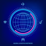 Global logistics network. Map global logistics partnership connection. Globe and logistics icons in neon style. Flat design. Vector illustration EPS10 stock illustration