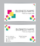 Print graphic business card design. Front and back. Stock Photo