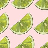 Print of green lemons on a tenderness pink backdrop. royalty free illustration