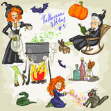 Print Halloween Witches - 3. Hand drawn collection Royalty Free Stock Image