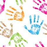 Print of hand. Of child, seamless isolated cute skin texture pattern,vector grunge illustration Royalty Free Stock Images