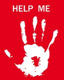 Print of hand ask for help. Friendship  background as symbol encourage support Royalty Free Stock Photos