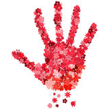 The print of a hand  from the red flowers Royalty Free Stock Photography