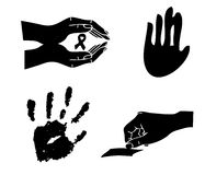 Print hand silhoutte. Illustration with a print hand silhouette on white background Royalty Free Stock Images