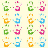 Print of hands pattern. A colorful hand print pattern with green, yellow, orange and blue hands Royalty Free Stock Images