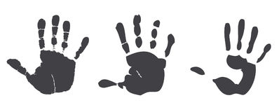 Print hands. Set print hands on white background Stock Images
