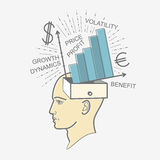 Print Head box: men thoughts about money, income, profit, economy. Royalty Free Stock Image