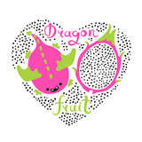 Print with heart and dragon fruit. Vegan food. Summer cute vector illustration.  Royalty Free Stock Photography