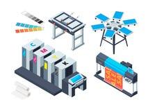 Print house machine. Digital laser printer inkjet plotter various printing tools vector isometric pictures stock illustration