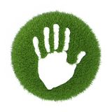 Print human hands on the green grass. 3d rendering on white background Royalty Free Stock Photos