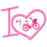 Print of I love bicycle made of tire track Royalty Free Stock Photo
