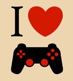 Print I love gaming vector illustration background Royalty Free Stock Images