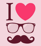 Print I love Hipster style, glasses and mustaches. Illustration vector background Royalty Free Stock Photography