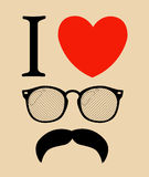 Print I love Hipster style, glasses and mustaches. Royalty Free Stock Photo