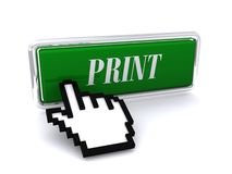 Print icon hand cursor. 3D green print icon or button with a hand cursor Stock Images