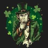 Saint Patrick theme illustration of Uncle Sam stock illustration