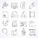 Print industry and graphic design icons. Vector icon set stock illustration