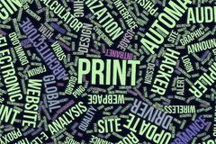 Print, conceptual word cloud for business, information technology or IT. Print, IT, information technology conceptual word cloud for for design wallpaper Stock Photos